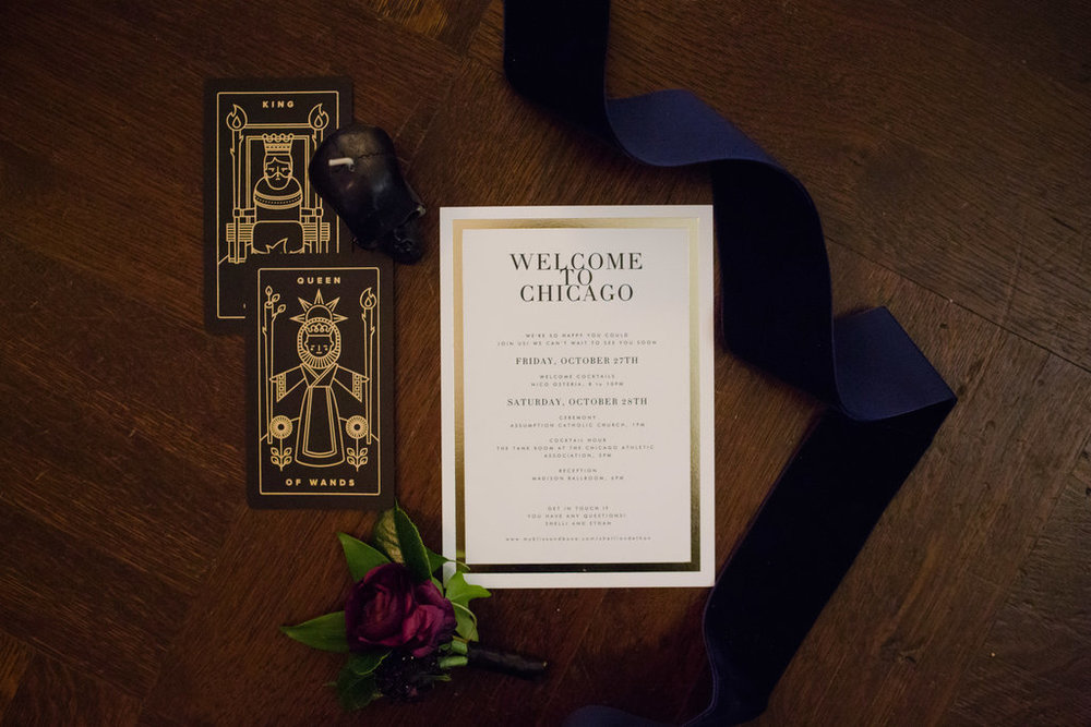 Organic Chicago wedding invitation and florals at the bride's home before Bridgeport Art Center ceremony and reception.