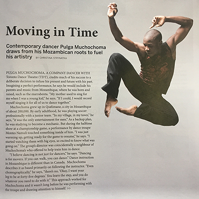 Pulga Muchochoma in The Dance Current, Mar/April 2017