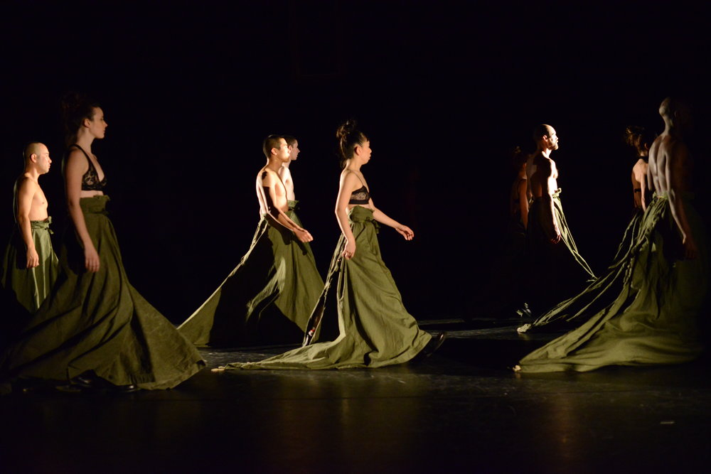 Members of the company in EARLY DEPARTURES (2014). Photo by Guntar Kravis