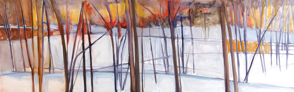Winter Evening, Oil on Canvas, 27 x 84 inches (Private Collection)
