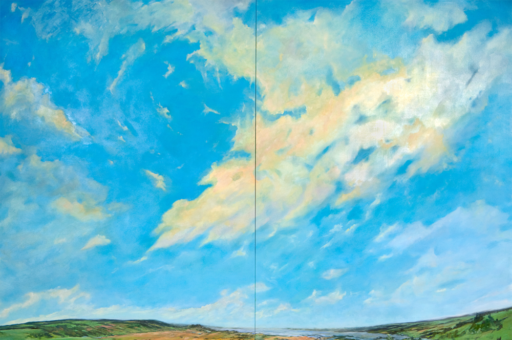 Summer Skies  (diptych), 2010, Oil on Canvas, 98 X 144 in