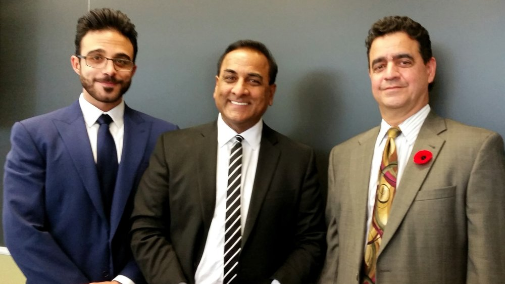 From left to right: Alex Freeman, Glendon Professor of Political Science R. Persaud, and Consul General of the United States Juan Alsace