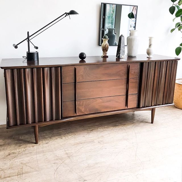 """The United Walnut Credenza, 74""""W x 19""""D x 31""""T. Available at Porter James of NY."""