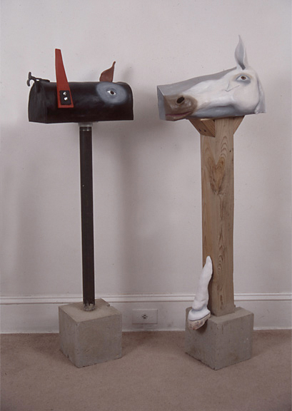 "Mailboxes Transforming from the ""Animated Object"" Series, 1996, painted ceramic sculpture, metal, wood, cement, and plastic"