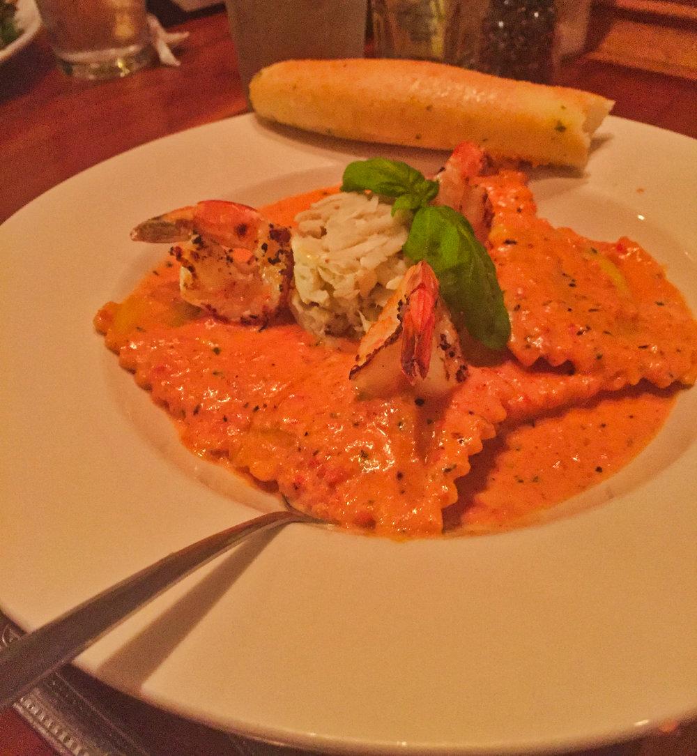 Crab ravioli with shrimp
