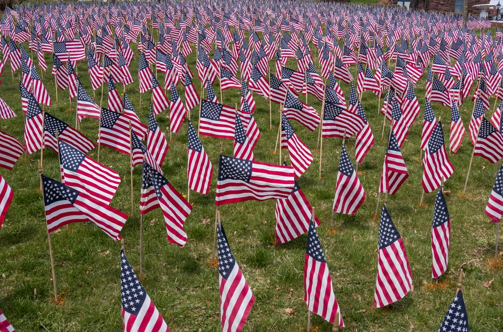 Cemetery at York, Pennsylvania - a flag for each veteran.