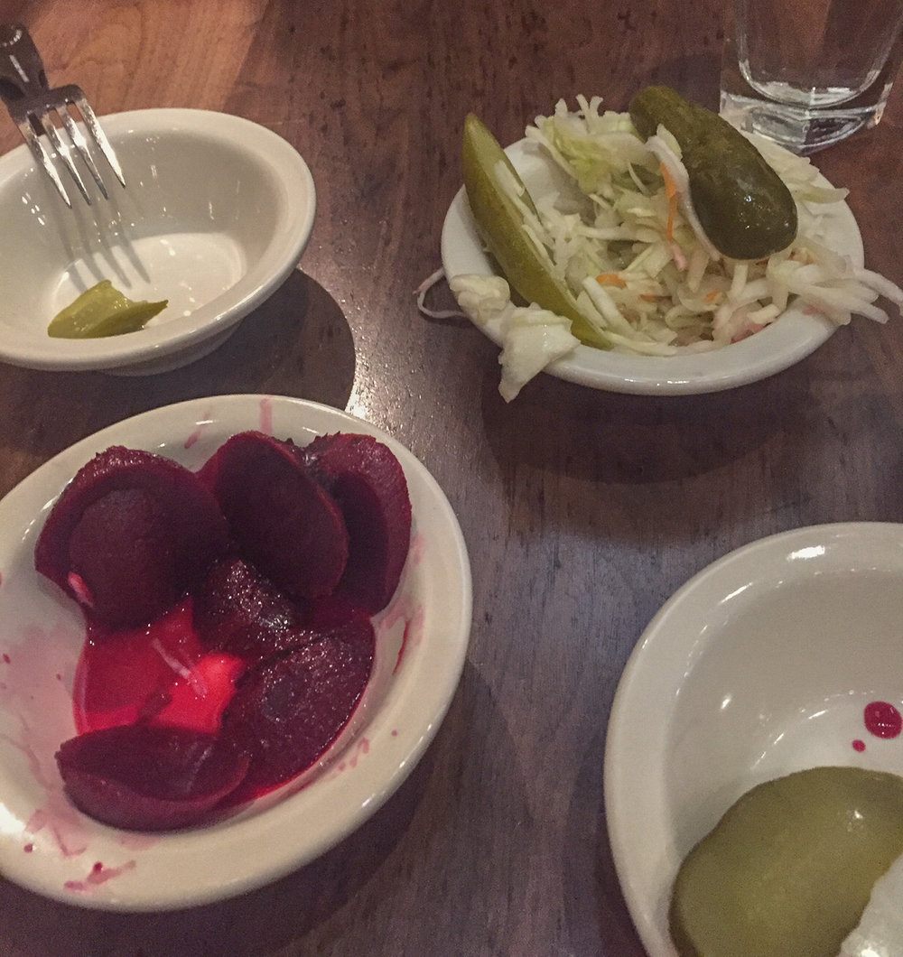 Pickled beets, cole slaw and pickled pickles, love it.