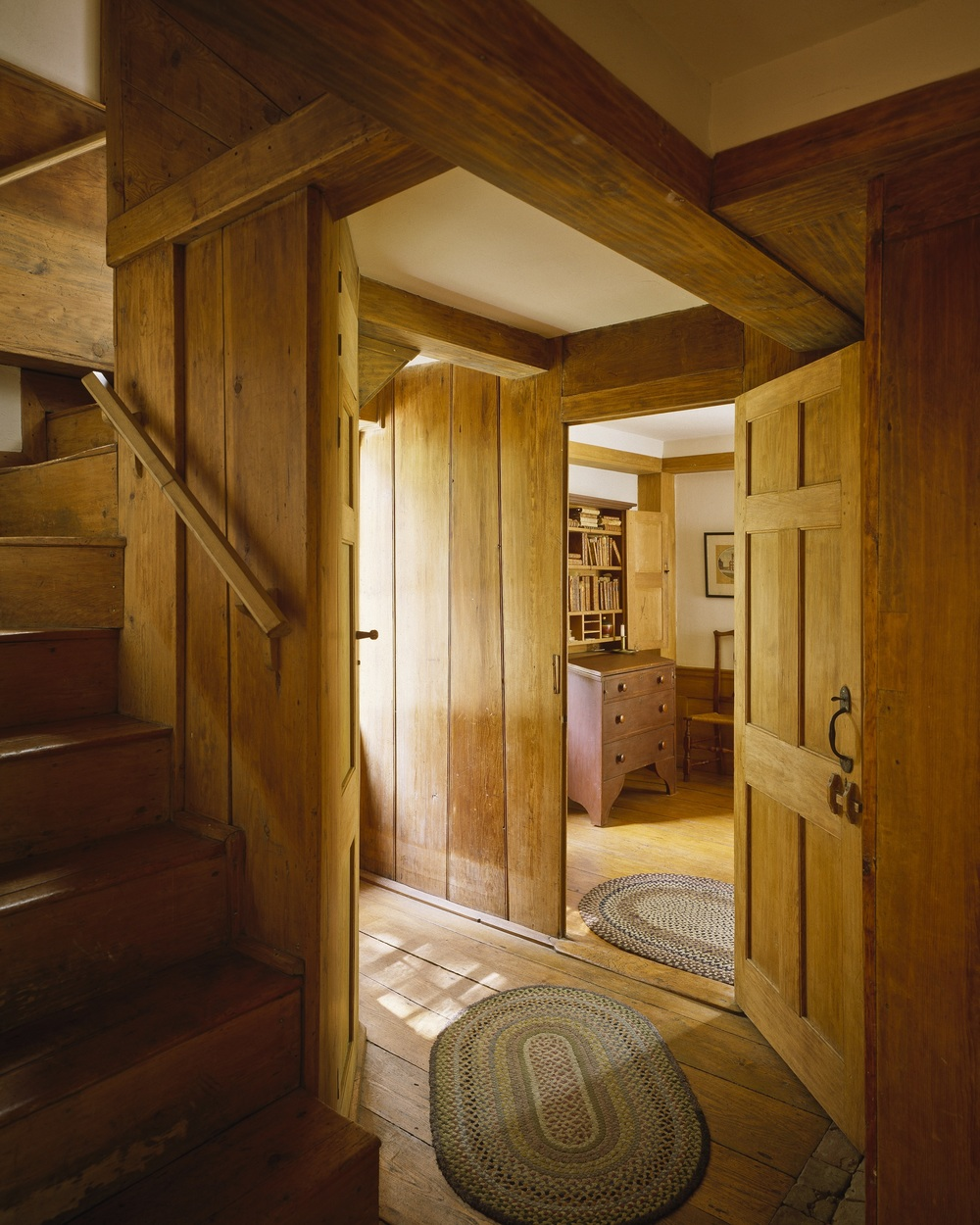Jonathan Fisher's skill and taste are evident in the rooms of the home he designed and built himself in Blue Hill, ME.