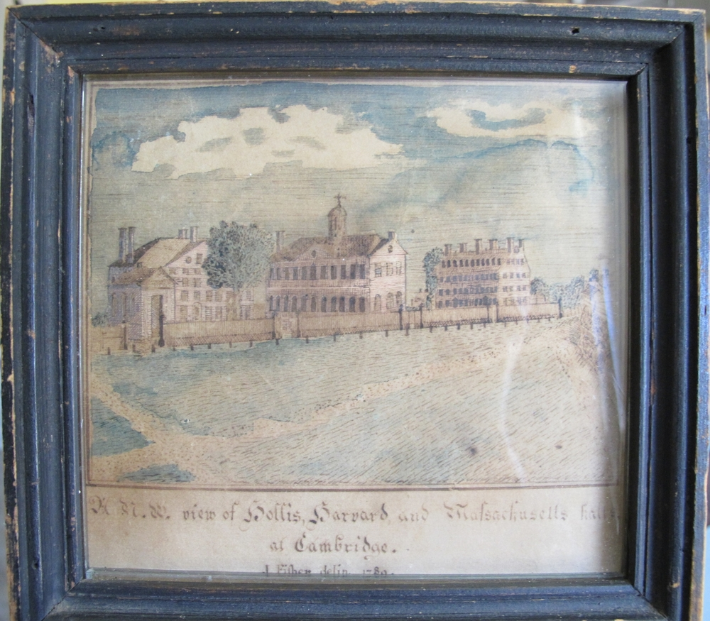 Early (c. 1790) Fisher watercolor of Harvard College.