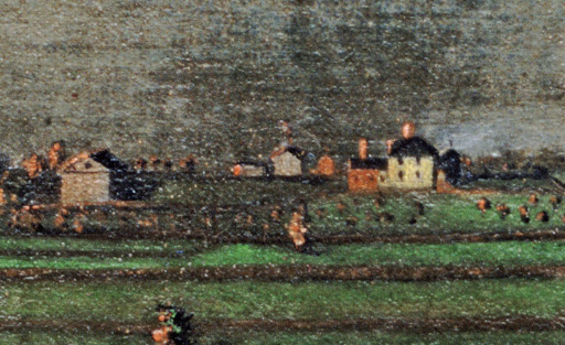 A detailed crop of the Fisher Farm from  A Morning View Of Blue Hill.