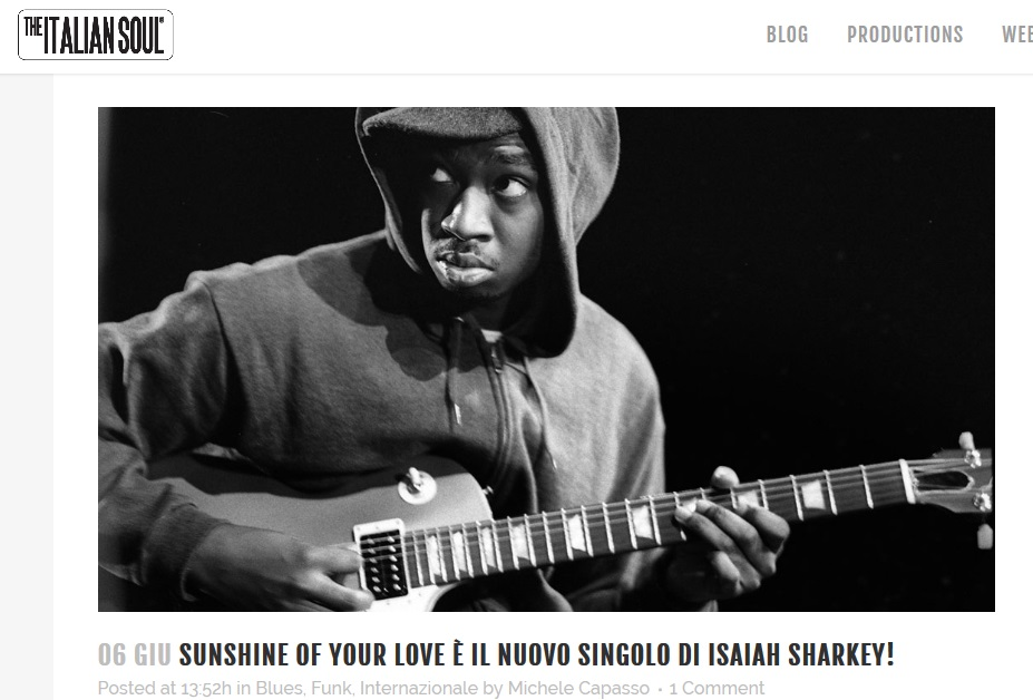 ISAIAH SHARKEY THE ITALIAN SOUL ITALIA