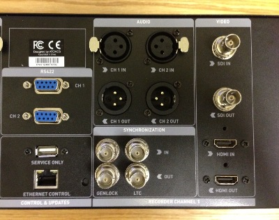 Close-up rear view detailing the various video and audio plus Genlock sync and LTC time-code connectors. RS422 and AMP remote control is possible via the included RS-422 and Ethernet ports. The Shogun Studio works with time-code from both HDMI and SDI sources. Recording can also be triggered by HDMI and SDI sources.