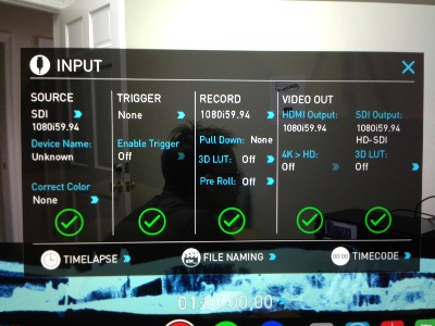 Input screen, with the ability to select HDMI or SDI video sources. The resolution and frame-rates for both input and output are available. Pre-roll recording is possible, along with triggering the unit to start and stop recording.