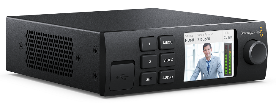 Blackmagic Web Presenter shown with optional Teranex Front Panel for two-input live video switching