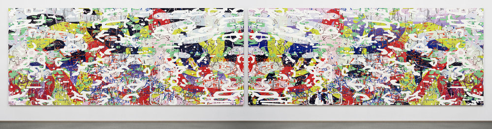 Variation: Apparent Reflectional Symmetry, Part I & II,  2014 oil and encaustic on eight panels diptych 69 x 338 inches