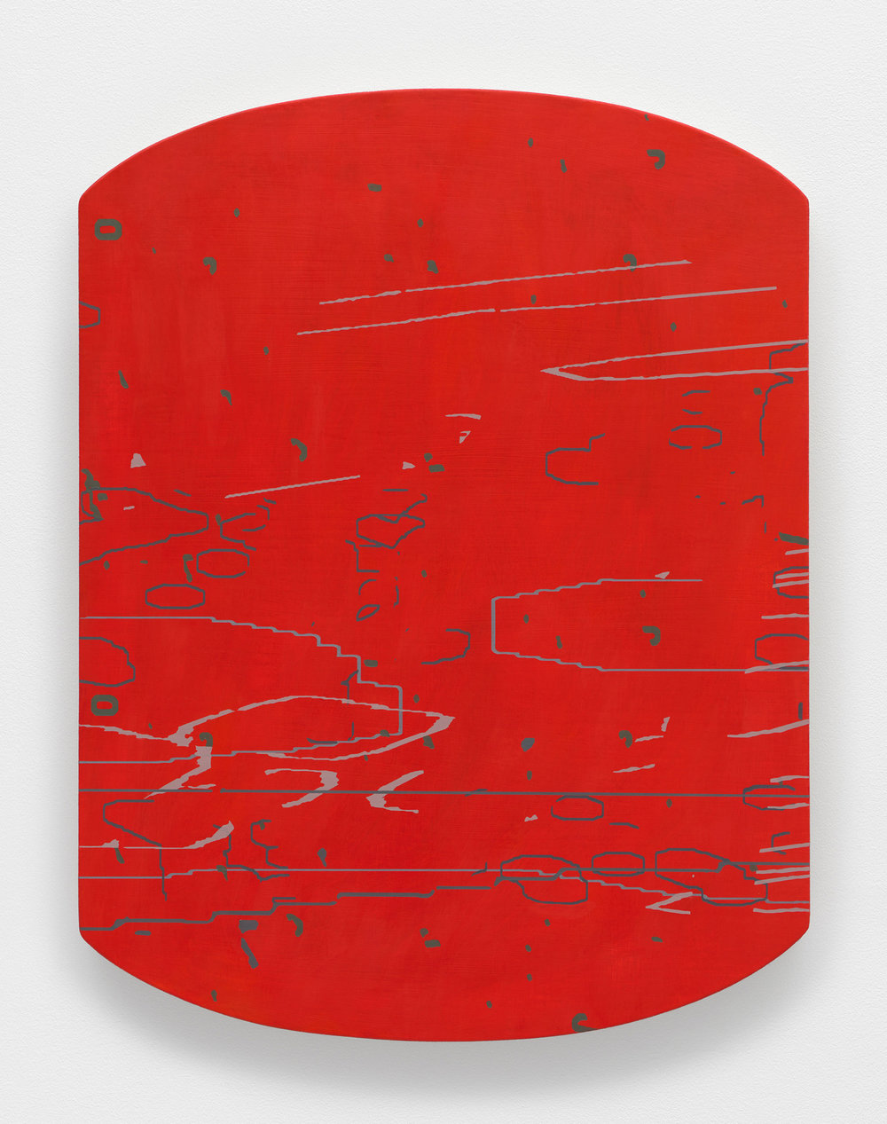 Variation: Carta V , 2014 oil on linen on shaped panel 27 x 20.75 inches