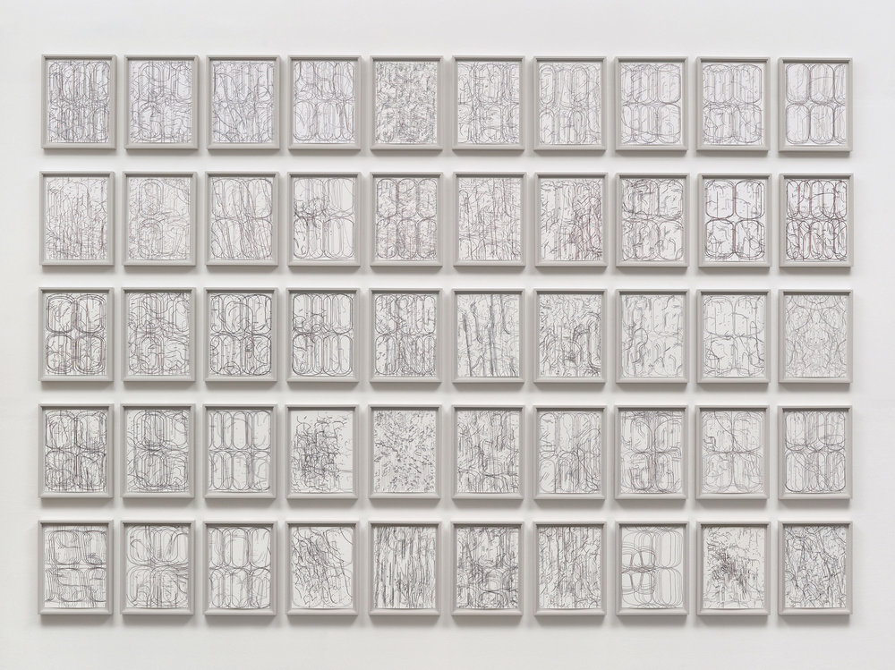 50 Variations,  2008-11 gouache on paper 82 x 120 inches overall 50 frames at 13¾ x 10¾ inches each