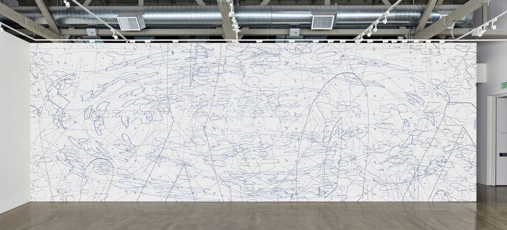 Variation: Large Delineation,  2014 site-specific mural, acrylic 13 x 40 feet (as shown)