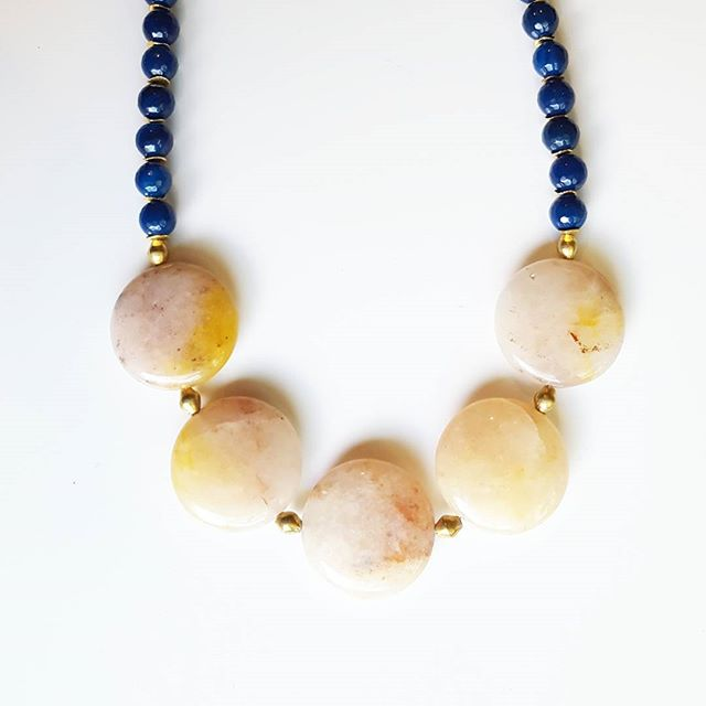 Loving the pops of color on this one! You can find this little ray of sunshine and other great MN treasures at @homespun.mn!  #handmadejewelry #handmade #citystonestudio #minneapolis #minnesota #shoplocal #shopmn #homespungoods #agatejewelry #agate #jewelry  #statementnecklace #jewelrygram