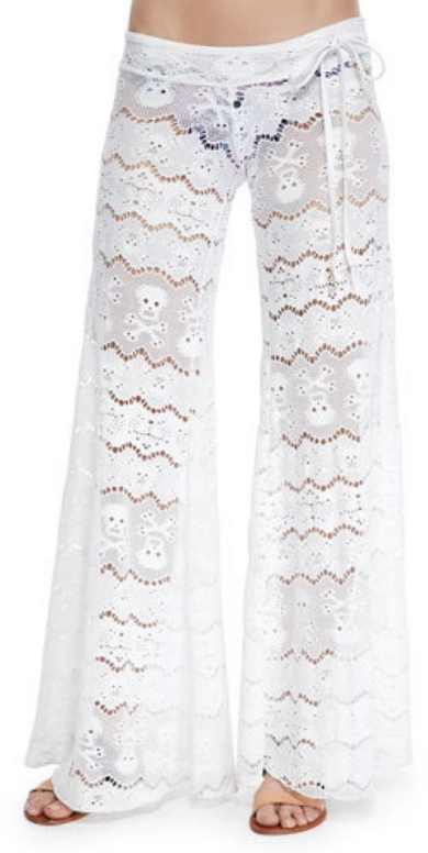 LeTarte White-Leg Lace Cover Up Pants