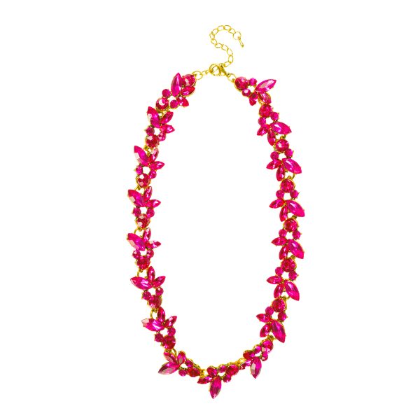 FUCHSIA LEAF STATEMENT NECKLACE    You can never be too happy or have too many statement necklaces. This really stands out with a white button down.