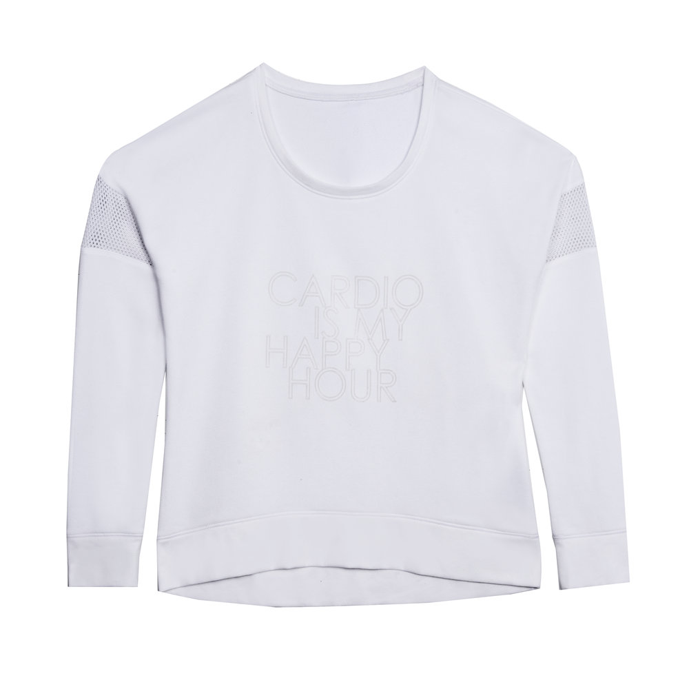 Graphic Sweatshirt with Mesh - White Cardio Is My Happy Hour.JPG