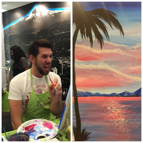 Left: Troy's painting face, he is very serious about his work Right: A partial glimpse of his Bob Ross-esque picture