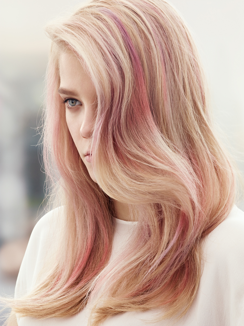 Edgy pink balayage from creative colorists at MLD hair salon in Soho