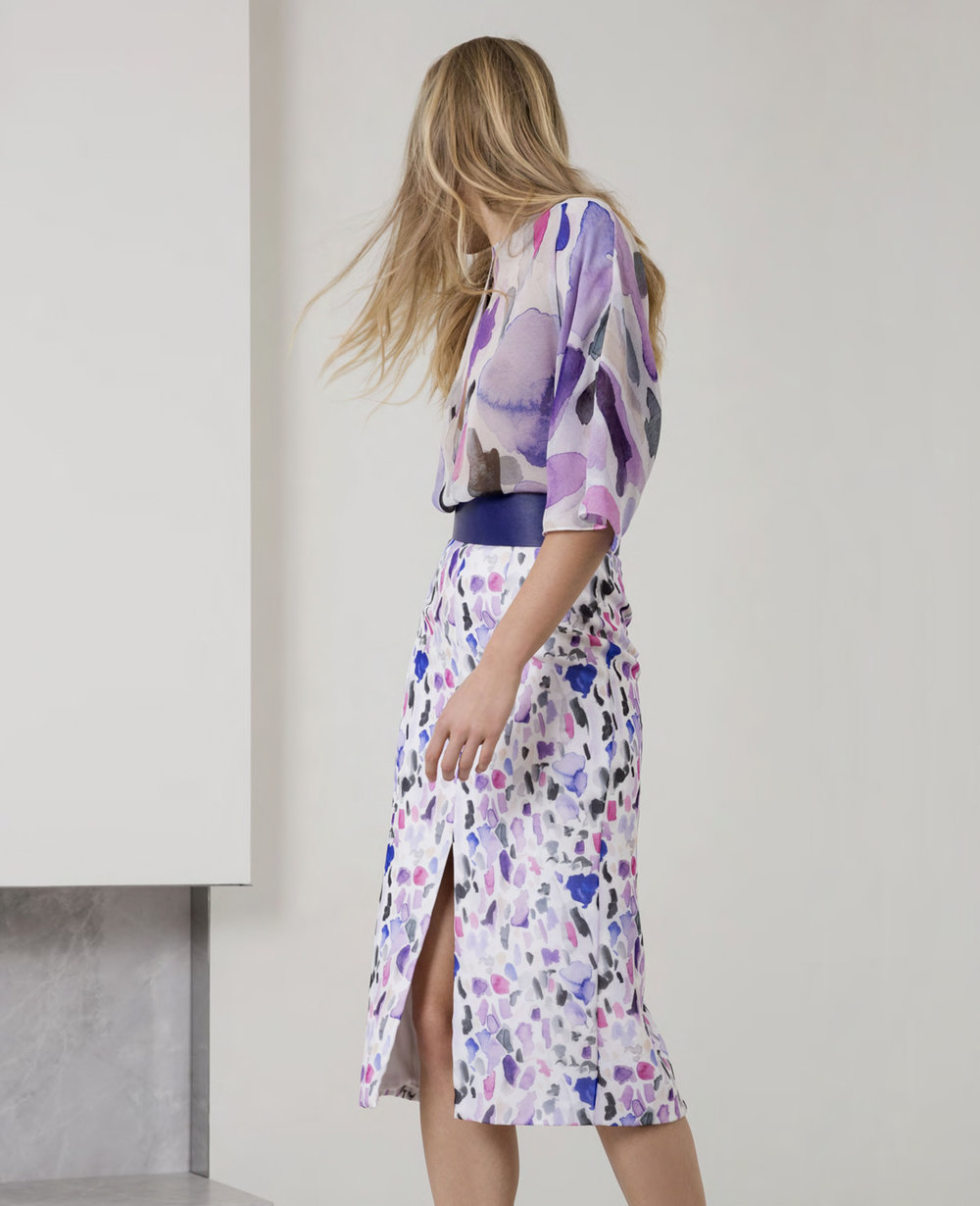 "The ""ink blot"" chiffon printed blouse and skirt"