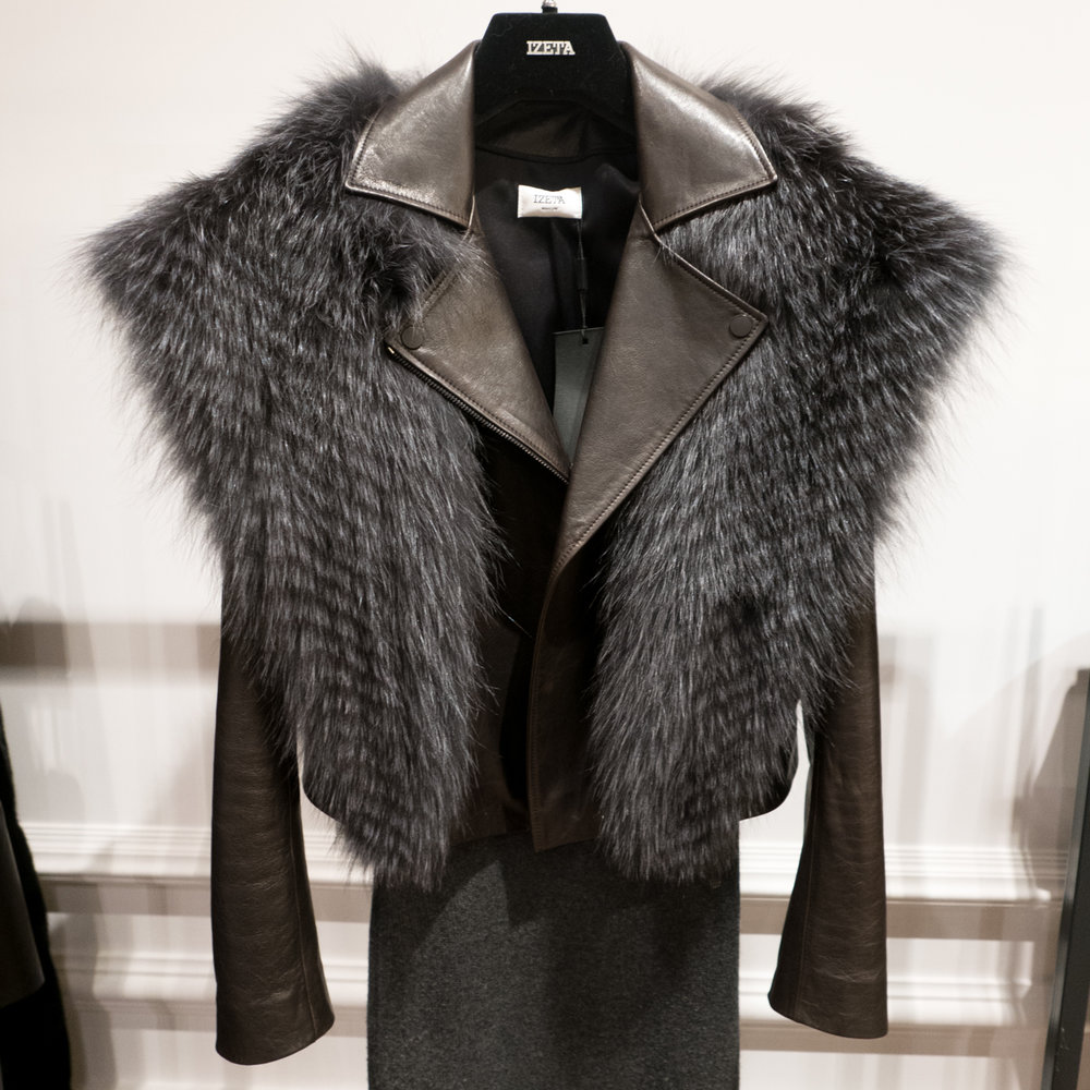 IZETA fur stole & leather jacket