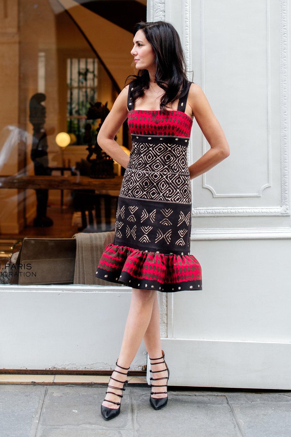 Oscar de la Renta cotton/canvas ethnic print dress