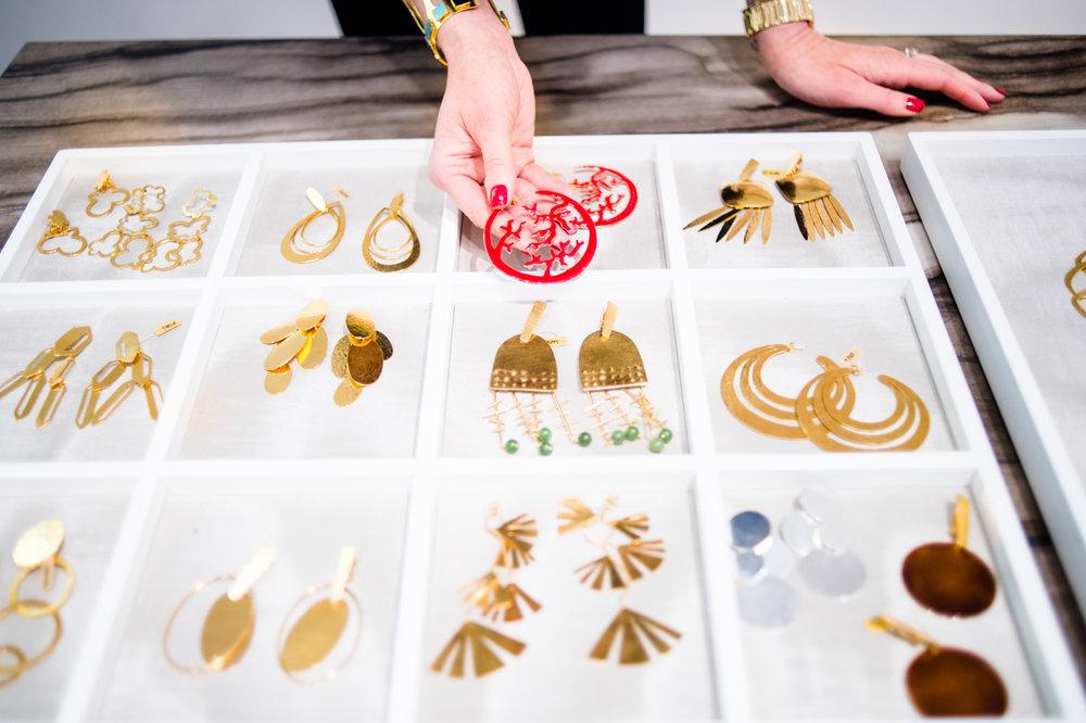 An assortment of earrings