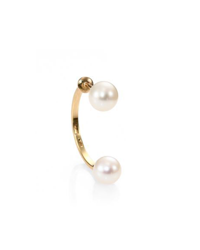 DELFINA DELETTREZ  Pearl Hook Back Single Earring