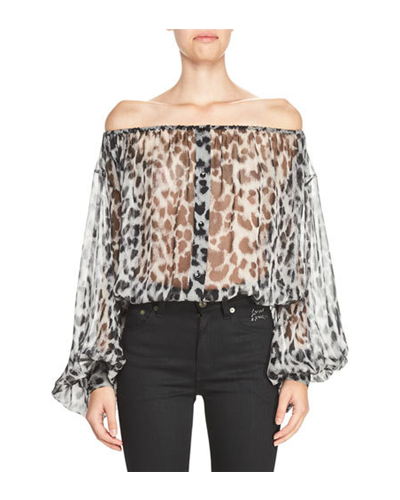 SAINT LAURENT  Leopard Peasant Blouse