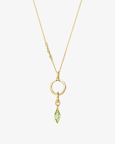 LINK CHOKER Yellow Gold & Peridot