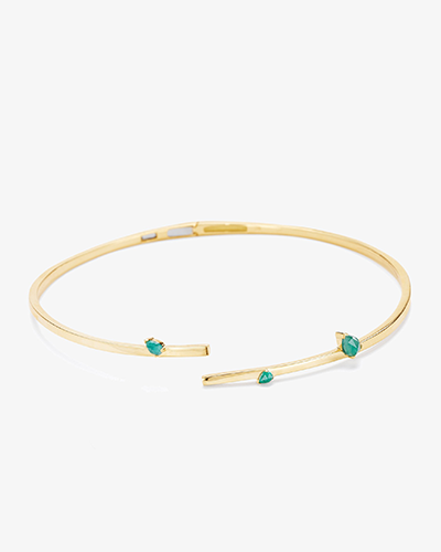 ASYMMETRICAL COLLAR Yellow Gold & Emerald