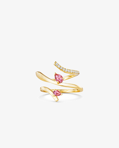 ASYMMETRICAL RING Yellow Gold & Pink Tourmaline