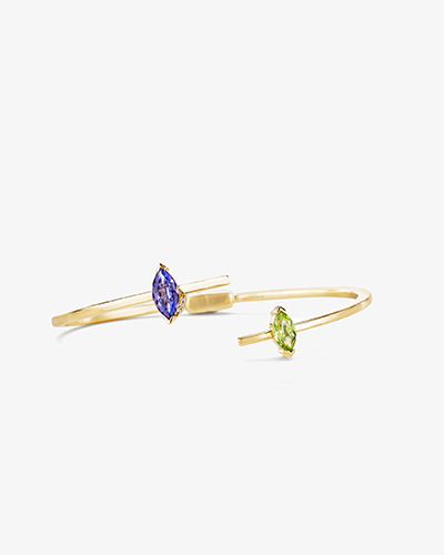 MARQUISE STONE BANGLE Yellow Gold & Tanzanite