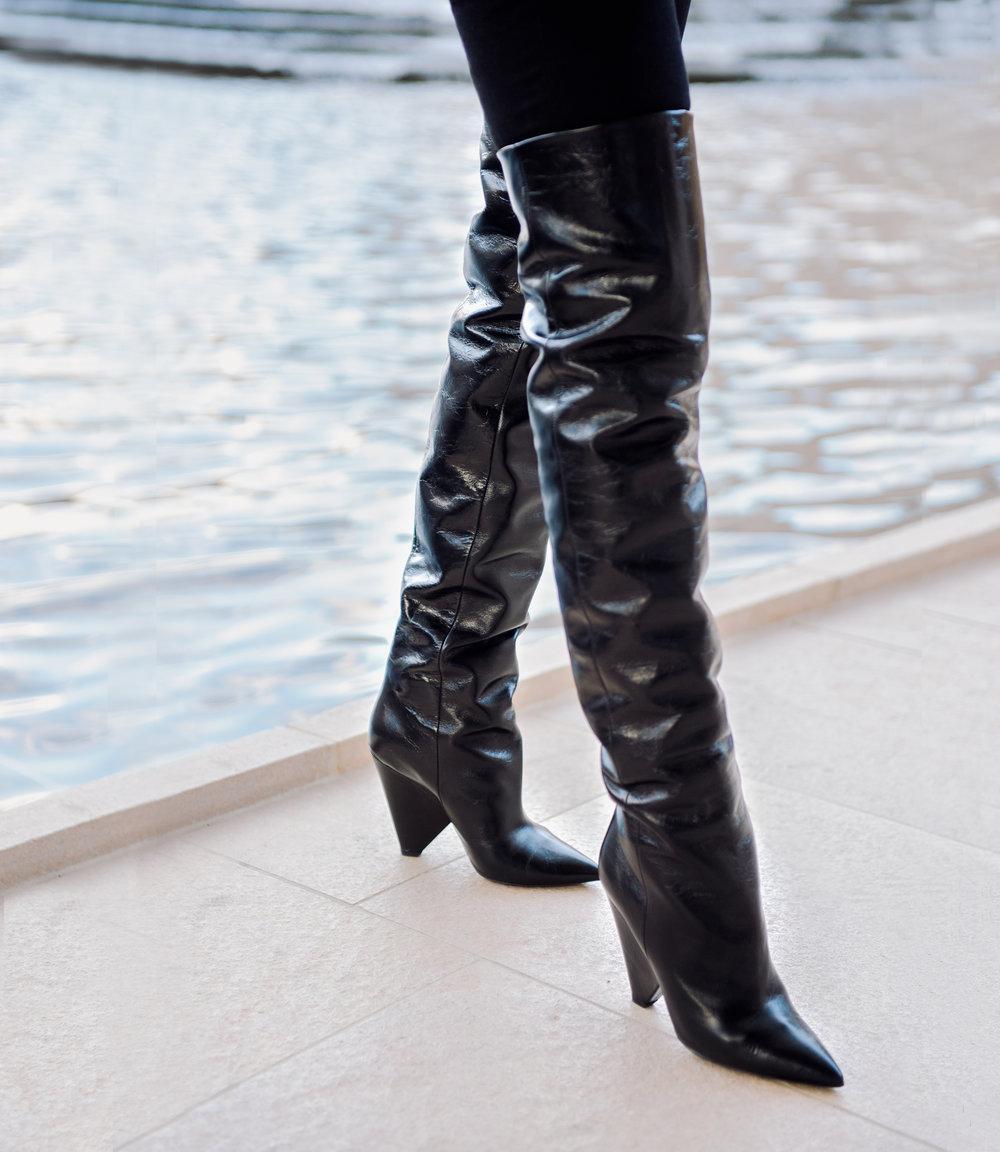 "Saint Laurent ""Nikki"" glossed leather knee-high boots"