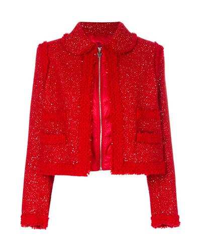 MONCLER  Camme Rouge Bouclé Jacket