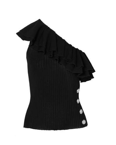 BALMAIN  One-shoulder Ruffled Ribbed-knit Top