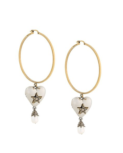 ALEXANDER McQUEEN  Pearl Heart Hoop Earrings