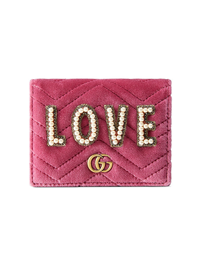 GUCCI  GG Marmont 2.0 Love Quilted Velvet Card Case