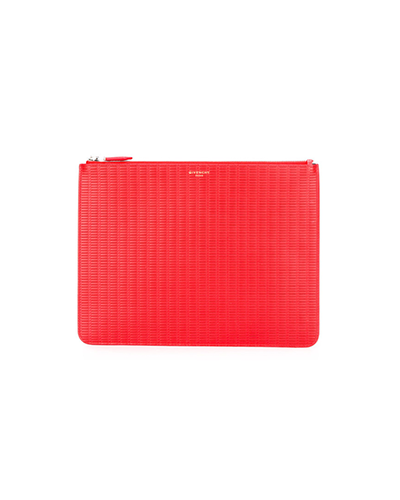 GIVENCHY  Red Braided Zip Clutch