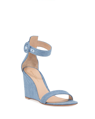 GIANVITO ROSSI  Portofino Denim Wedge