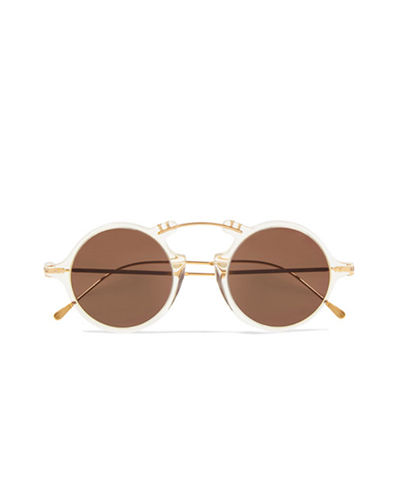 ILLESTEVA  Roma Round-frame Acetate and Gold-tone Sunglasses