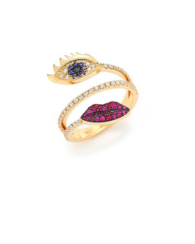 DELFINA DELETTREZ  Marry Me Blue Sapphire, Diamond, Rubies & 18K Yellow Gold Eyes & Lips Ring