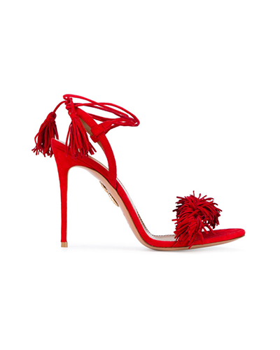 AQUAZZURA  Red Wild Thing Suede Sandals
