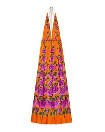 GUCCI  Rose Garden Silk Print Dress
