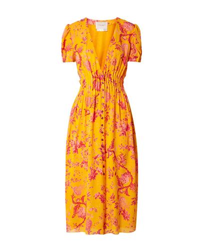 CAROLINA HERRERA  Pintucked Silk Crepe de Chine Midi-Dress